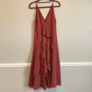 Rust C/MEO Collective Hi-low Ruffle Dress Size S